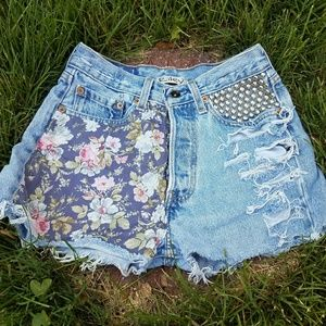 One of a kind Cut Off Flower Child Shorts